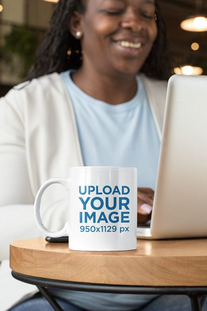 11 oz Mug Mockup Featuring a Happy Middle-Aged Woman Working 32899