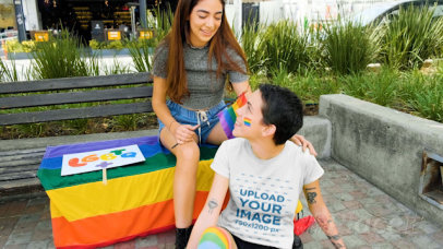 T-Shirt Video of a Woman Having Fun with Her Girlfriend at Pride Parade 33370