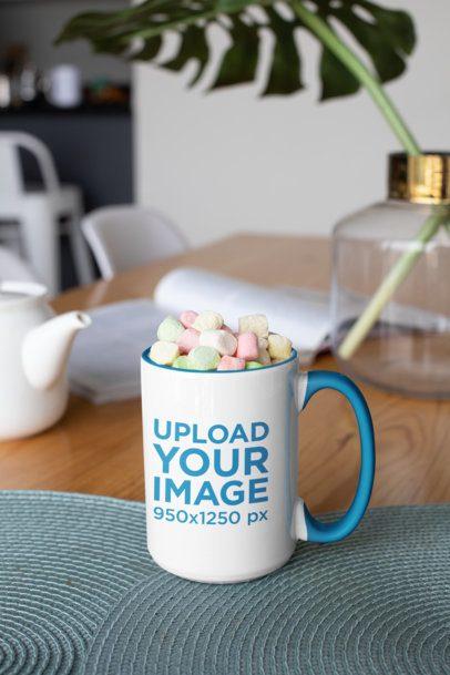15 oz Coffee Mug Mockup Filled with Marshmallows 33194