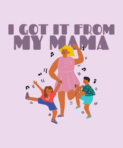 T-Shirt Design Maker Featuring an Illustration of a Mom Dancing with Her Children 2426g