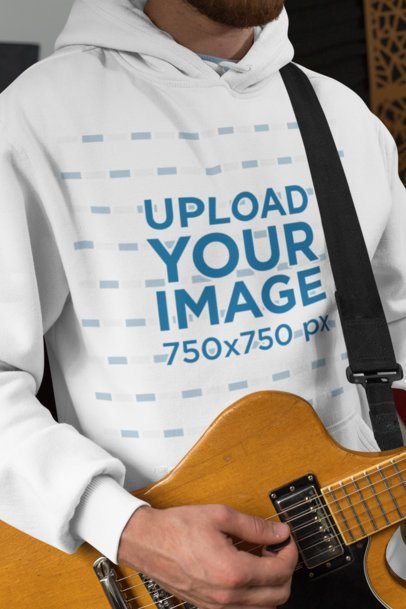 Pullover Hoodie Mockup of a Man Playing Guitar 33339