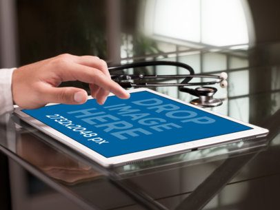 iPad Mockup in Landscape Position Over a Doctor's Desk  a12318