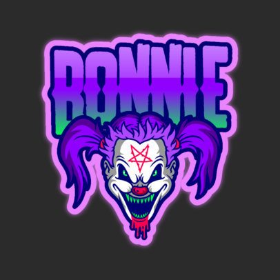 Gaming Logo Template Featuring an Evil Female Clown Illustration 3128k