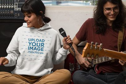 Hoodie Mockup Featuring Two Musicians 33345