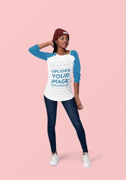 Mockup of a Young Woman Posing with a Raglan T-Shirt at a Studio 1823-el1