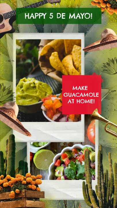 Instagram Story Creator for a Guacamole Recipe for 5 de Mayo 2436g