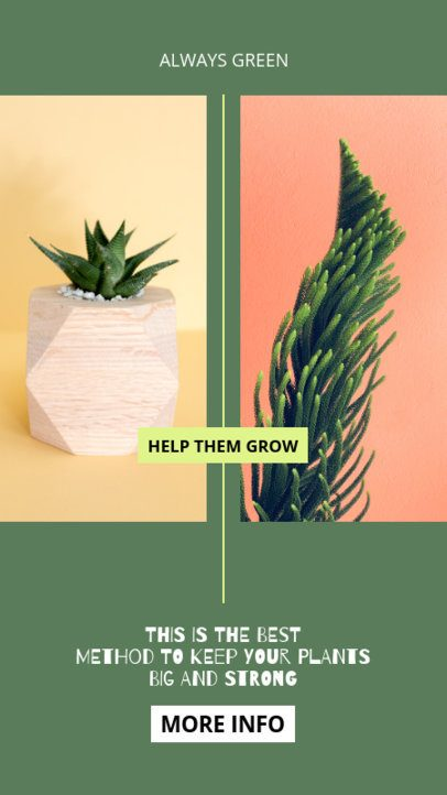 Minimalist Instagram Story Template Featuring Indoor Plant Tips 805a-el1