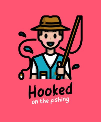 T-Shirt Design Maker Featuring a Smiling Fisherman 758d-el1