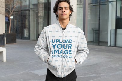 Mockup of a Cool Man Wearing a Sublimated Bomber Jacket 33234