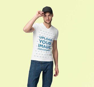 Mockup of a Man Wearing a Customizable V-Neck T-Shirt at a Studio 3690-el1