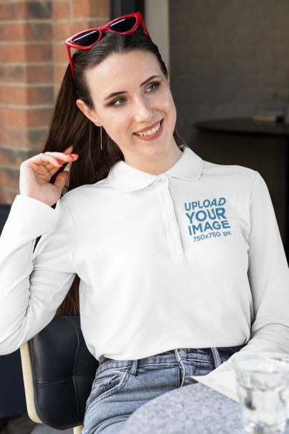 Mockup of a Woman Wearing a Long-Sleeve Polo Shirt 33462