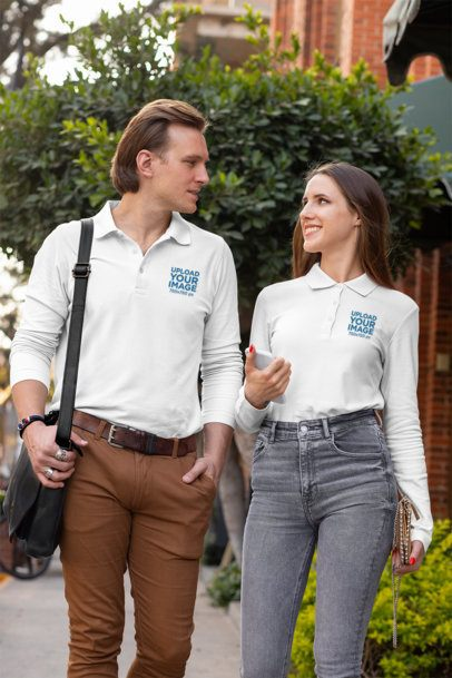 Mockup of a Couple Wearing Long Sleeve Polo Shirts on a Street 33470