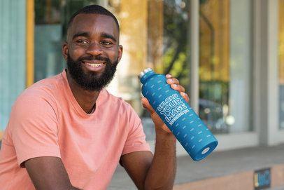 Aluminum Bottle Mockup Featuring a Bearded Man 33491