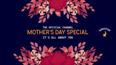 YouTube Banner Template for Mother's Day Featuring Flower Decorations 2454b