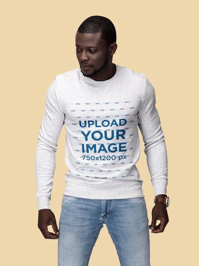 Mockup Featuring a Man Wearing a Customizable Sweatshirt at a Studio 1813-el1
