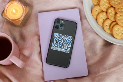 Sticker Mockup Featuring an iPhone 11 Pro and a Calm Setting 33605