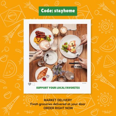 Instagram Post Creator Featuring a Restaurant's Stay-at-Home Promo 2236f 2479