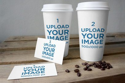 Mockup of Two Coffee Cups and Two Business Cards 3789-el1