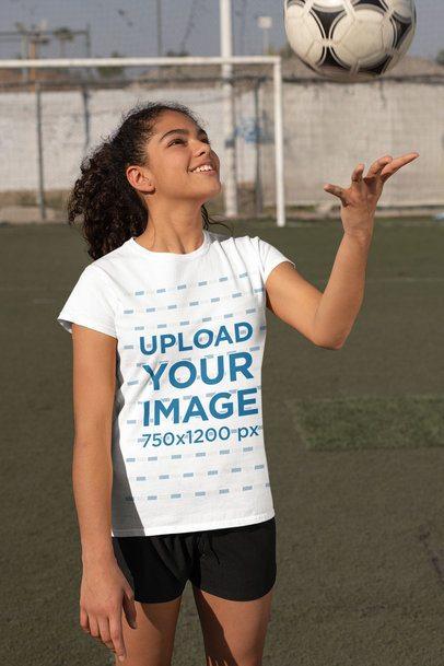 T-Shirt Mockup of a Girl at Soccer Training 33578