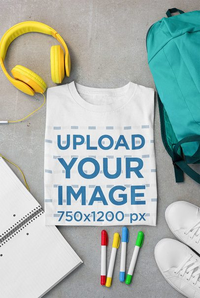 T-Shirt Mockup Featuring Some Makers and Headphones 33682
