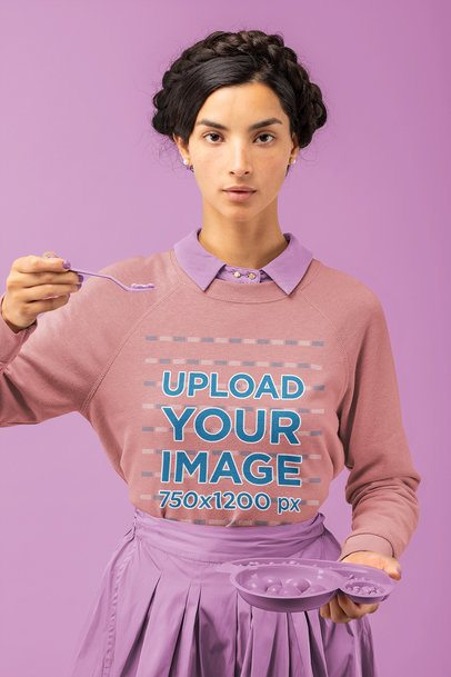 Artistic Mockup Featuring a Woman with a Sweatshirt at a Studio 32787