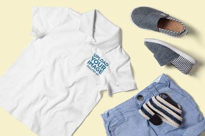 Polo Shirt Mockup Featuring an Outfit for a Boy 3009-el1