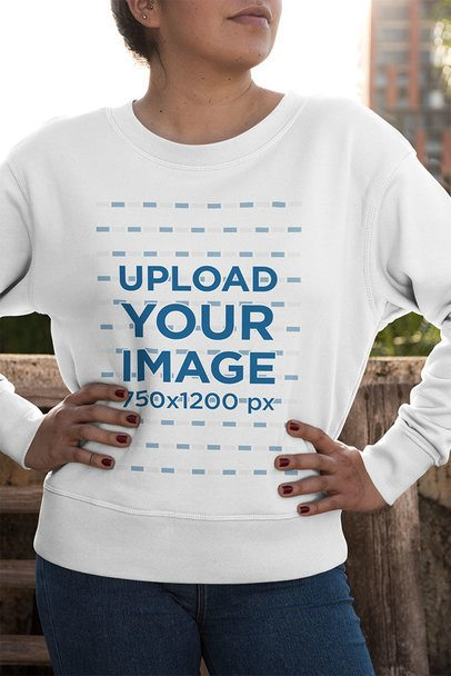 Crewneck Sweatshirt Mockup Featuring a Woman with Hands on Her Waist 33971