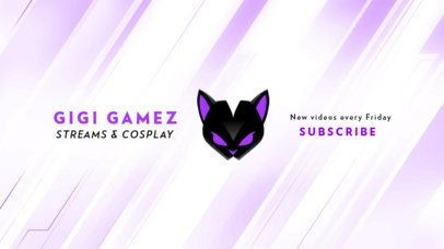 YouTube Banner Design Maker for a Cosplay Channel Featuring a Black Cat Graphic 2470z