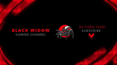 YouTube Banner Maker Featuring a Black Widow Spider Clipart 2470w