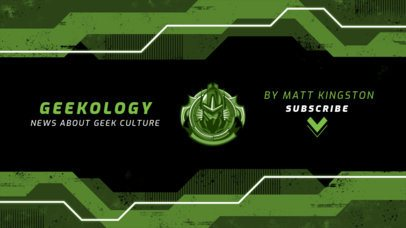 Modern YouTube Banner Template for a Geek Channel 2470g