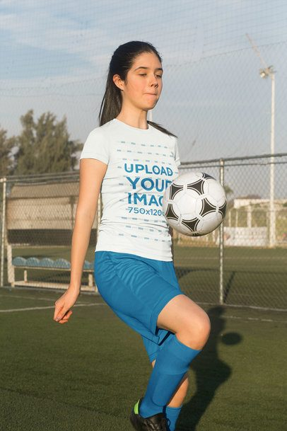 Jersey Mockup Featuring a Teenager Practicing Soccer 33582