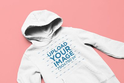 Closeup Mockup of a Pullover Hoodie Over a Flat Surface 33890