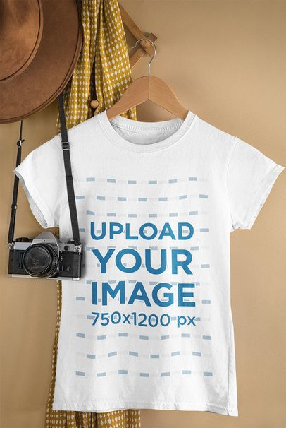 Mockup of a T-Shirt Hanging by a Vintage Camera 33739