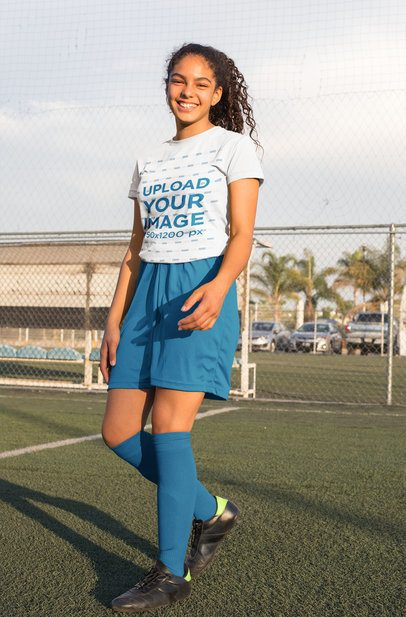 Jersey Mockup Featuring a Teenager at a Soccer Field 33565
