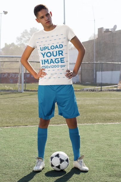 Mockup of a Soccer Player at the Field Wearing a Team's Jersey 33567