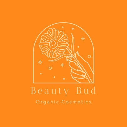 Logo Template for Organic Cosmetics Featuring a Hand and a Flower 3193f