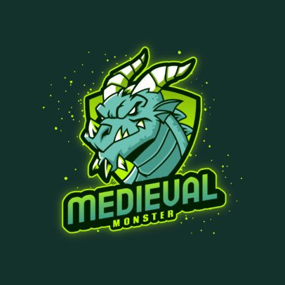 Logo Template Featuring a Medieval Dragon with Paint Stains 3185f