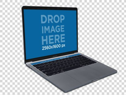 Angled 13 Inch MacBook Pro with Touch Bar Over a Transparent Background Mockup a12872