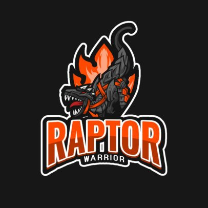 Logo Template Featuring a Velociraptor with Flames 1214e-el1
