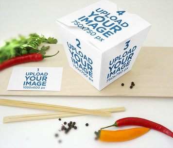 Food Box Mockup Featuring a Customizable Business Card and Chili Peppers 4001-el1