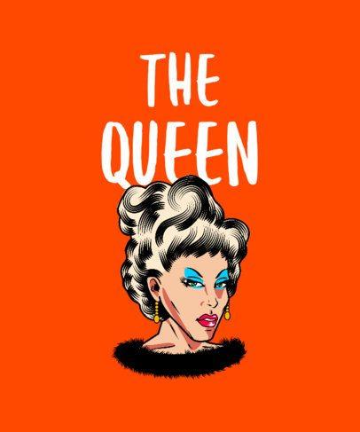 T-Shirt Design Template with a Fierce Drag Queen Illustration 2480d