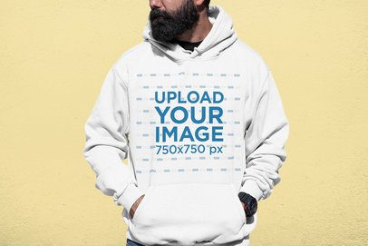 Cropped Face Mockup of a Bearded Man with a Hoodie at a Studio 33886
