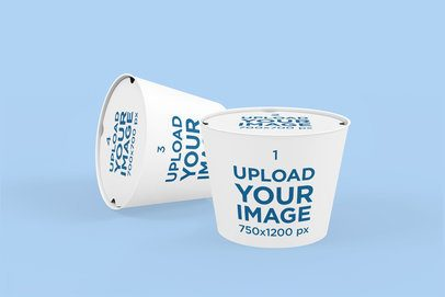 Mockup of Two Food Cups With Customizable Lids Placed Against a Solid Color Backdrop 4014-el1