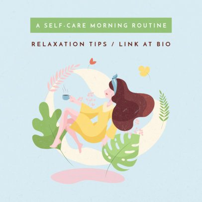 Instagram Post Maker for a Self-Care Routine 1148a-el1
