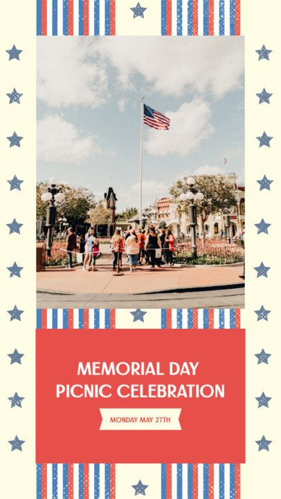 Patriotic Instagram Story Design Template for a Memorial Day Celebration 2483g