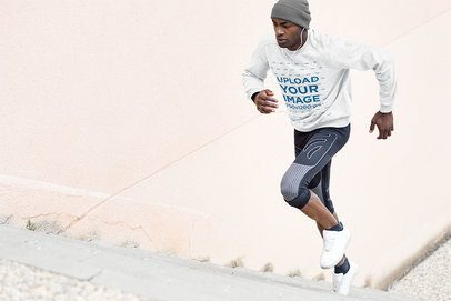Mockup of a Man Jogging with a Crewneck Sweatshirt 34039-r-el2