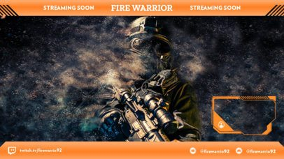Twitch Overlay Template with the Picture of a Soldier as Background 2511b