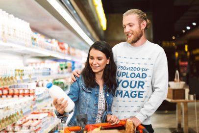 Sweatshirt Mockup of a Couple Doing Grocery Shopping 34023-r-el2