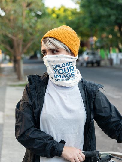 Neck Gaiter Mockup of a Young Woman Covering Her Face on the Street 36084