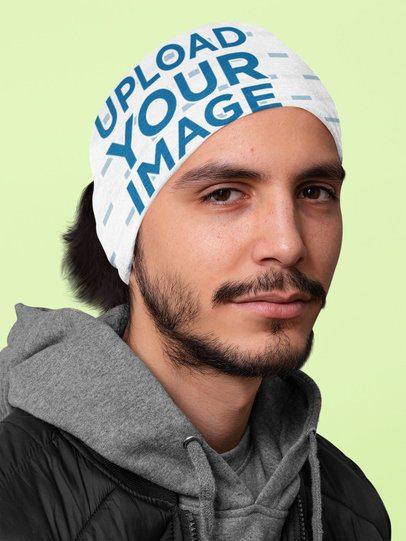 Mockup of a Man with Long Hair Wearing a Tubular Bandana on His Head 36071